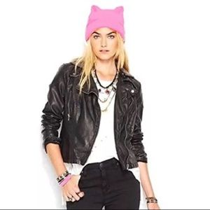 Pussy Cat Ears Neon Pink Womens March Hat Beanie